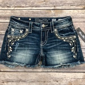 Miss Me • Distressed Embellished Cut Off Shorts